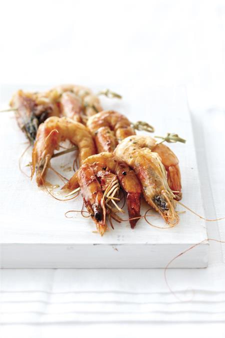 Γαρίδες σουβλάκι με λάιμ και μέλι