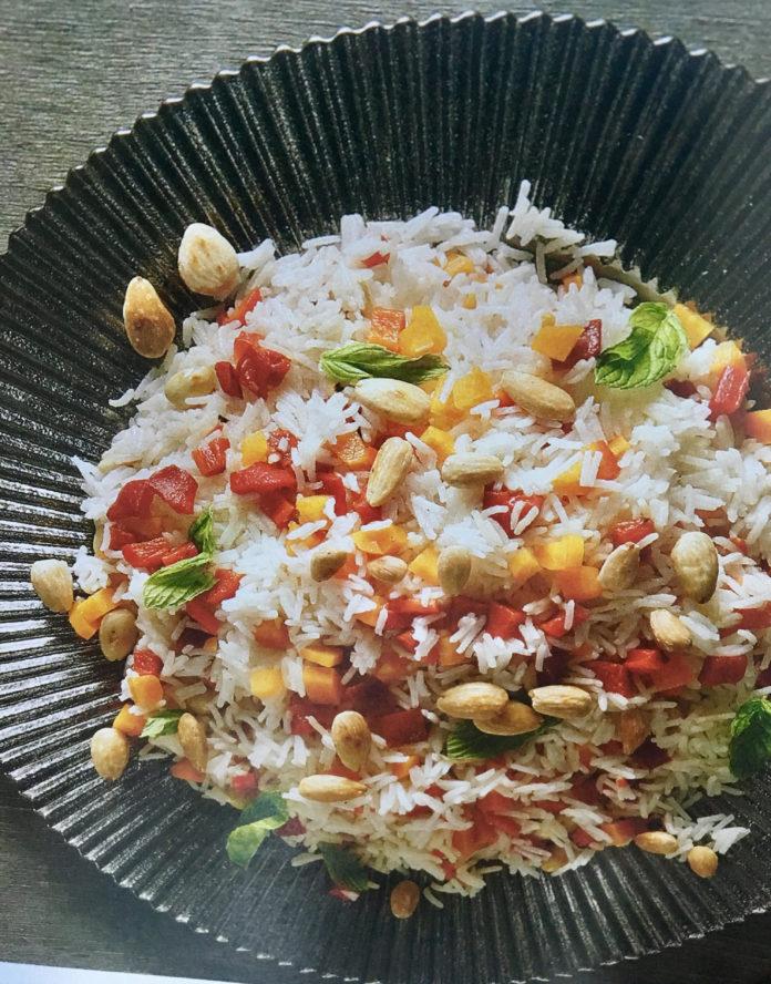 Ρύζι μπασμάτι πολύχρωμο με καβουρδισμένα αμύγδαλα