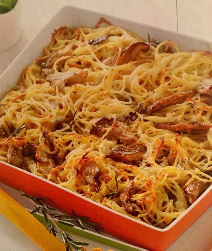 Σπαγγέτι φούρνου με πλευρώτους και γραβιέρα