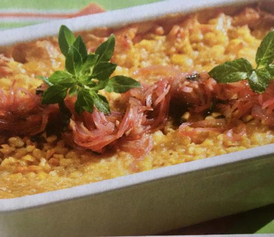 Φάβα στο φούρνο με βασιλικό και δυόσμο